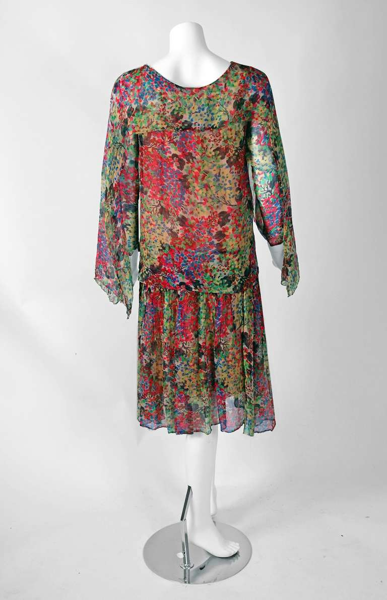 1920's Watercolor Floral-Garden Silk Chiffon Winged-Sleeves Deco Flapper Dress For Sale 1