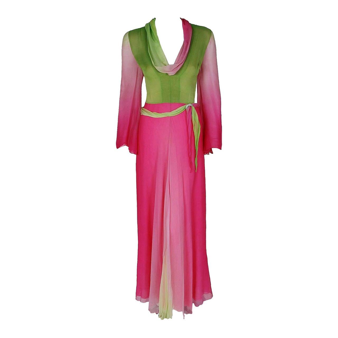 1970's Pauline Trigere Pink & Green Ombre Silk Chiffon Bell-Sleeve Goddess Gown 1