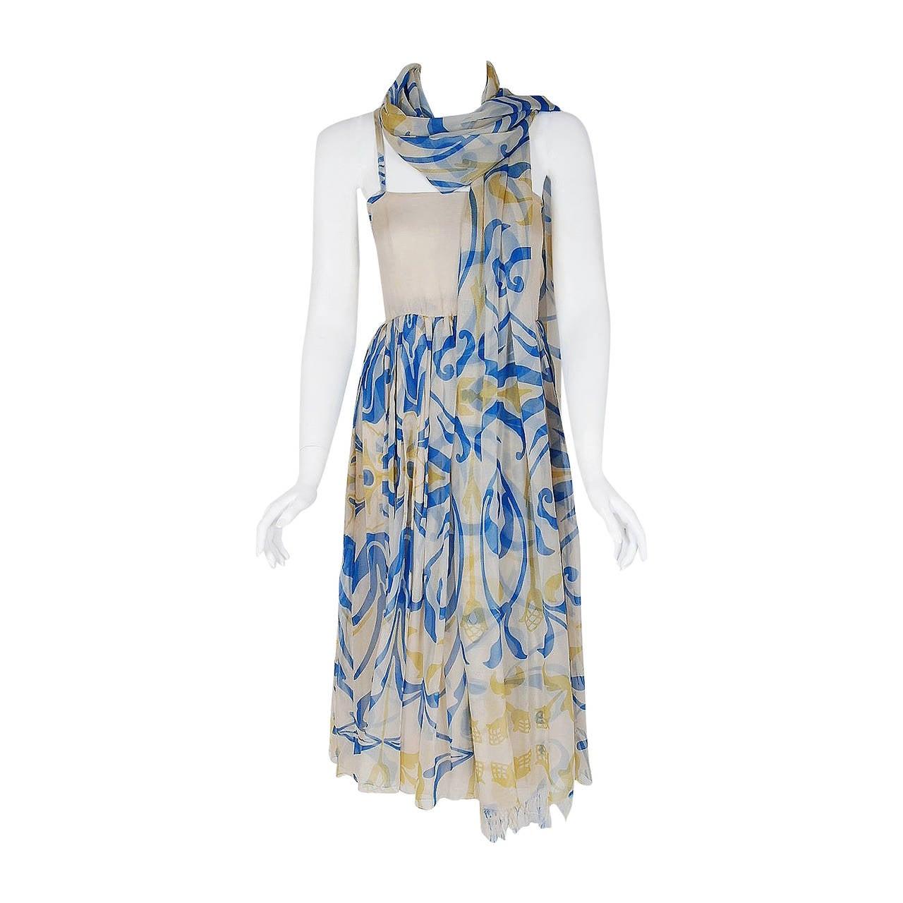 1970's Galanos Blue Yellow Abstract Print Silk-Chiffon Goddess Dress & Shawl 1