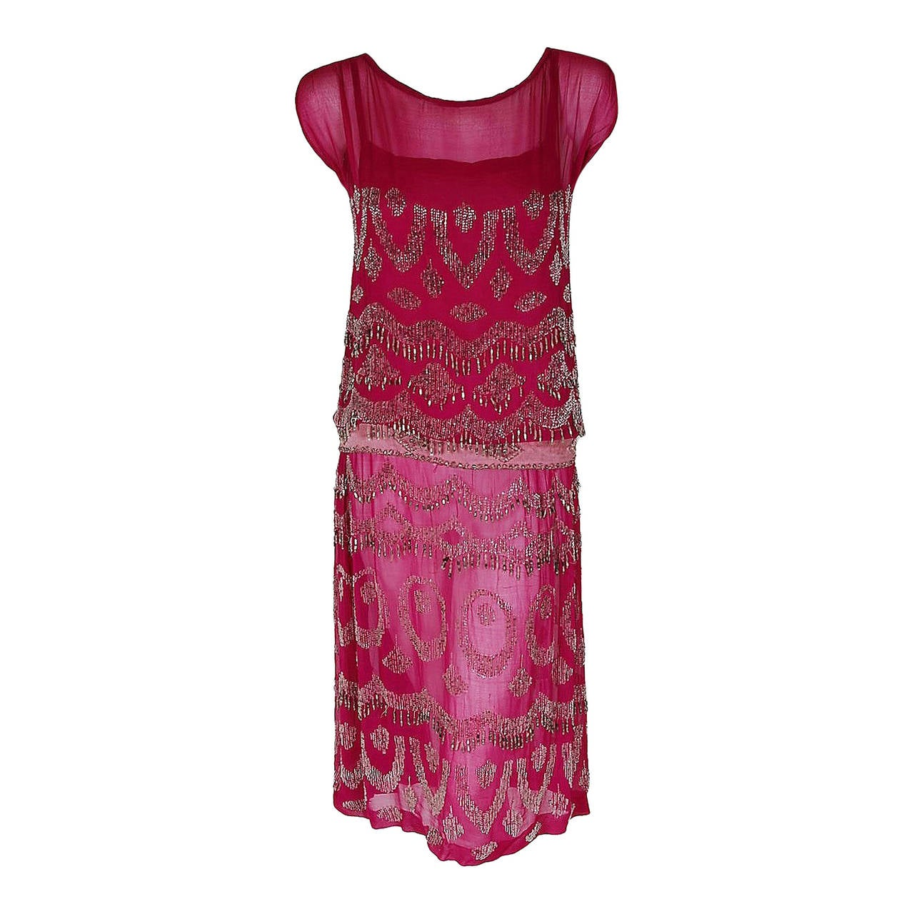 1920's French Couture Fuchsia-Pink Beaded Deco Silk-Chiffon Flapper Dress 1