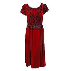 1922 Paul Poiret Haute-Couture Beaded Butterfly Red Silk-Velvet Evening Dress