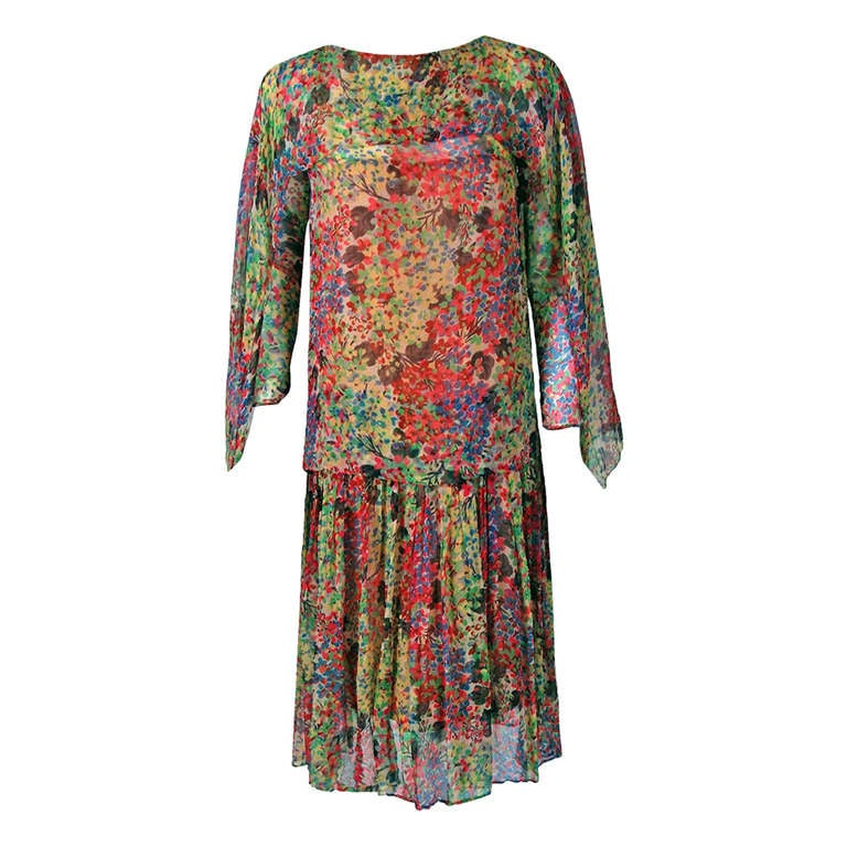 1920's Watercolor Floral-Garden Silk Chiffon Winged-Sleeves Deco Flapper Dress