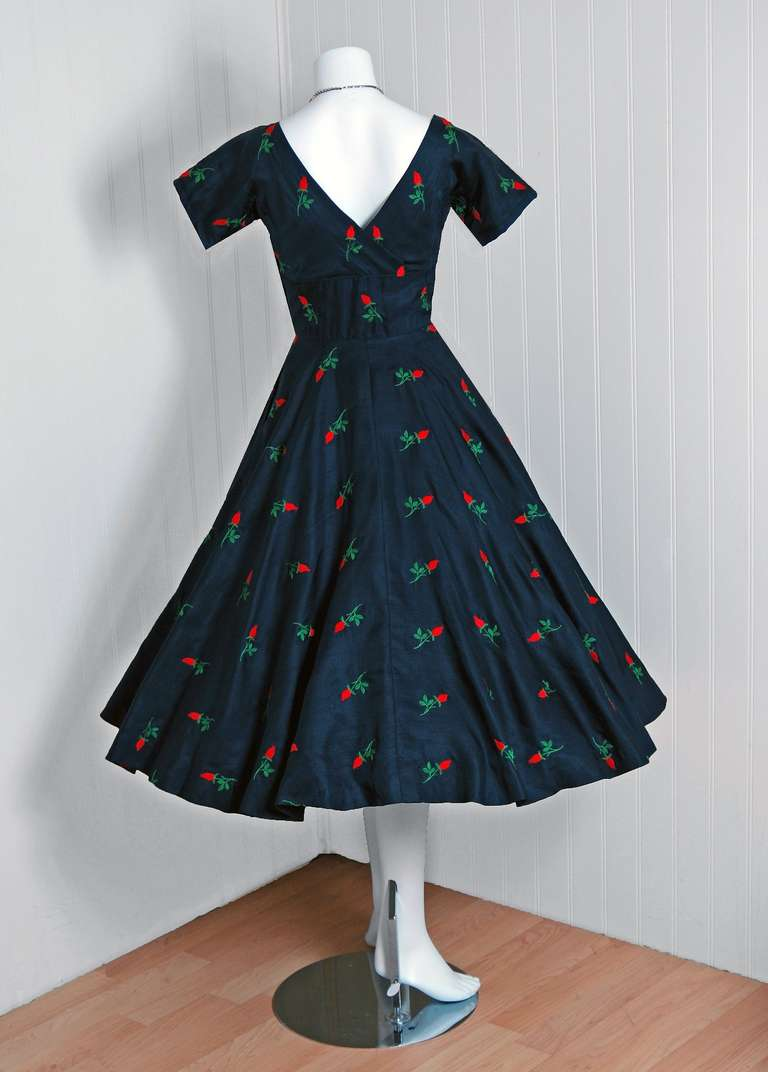 1950's Embroidered Roses Navy Silk Shelf-Bust Full Circle-Skirt Party Dress 5