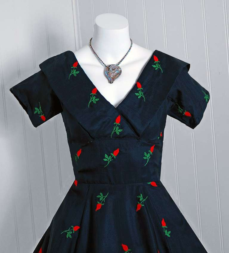 1950's Embroidered Roses Navy Silk Shelf-Bust Full Circle-Skirt Party Dress 2