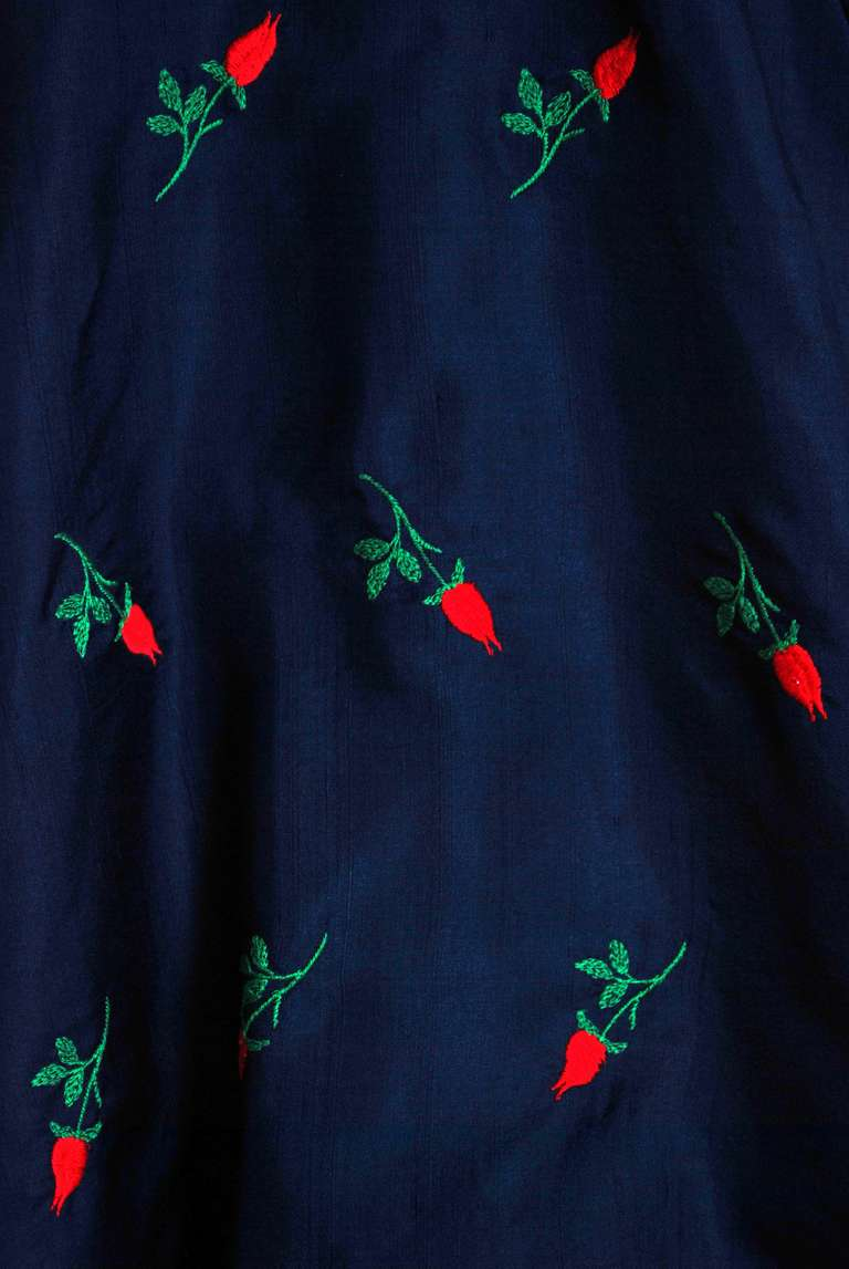 1950's Embroidered Roses Navy Silk Shelf-Bust Full Circle-Skirt Party Dress 3