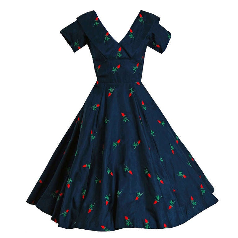 1950's Embroidered Roses Navy Silk Shelf-Bust Full Circle-Skirt Party Dress 1