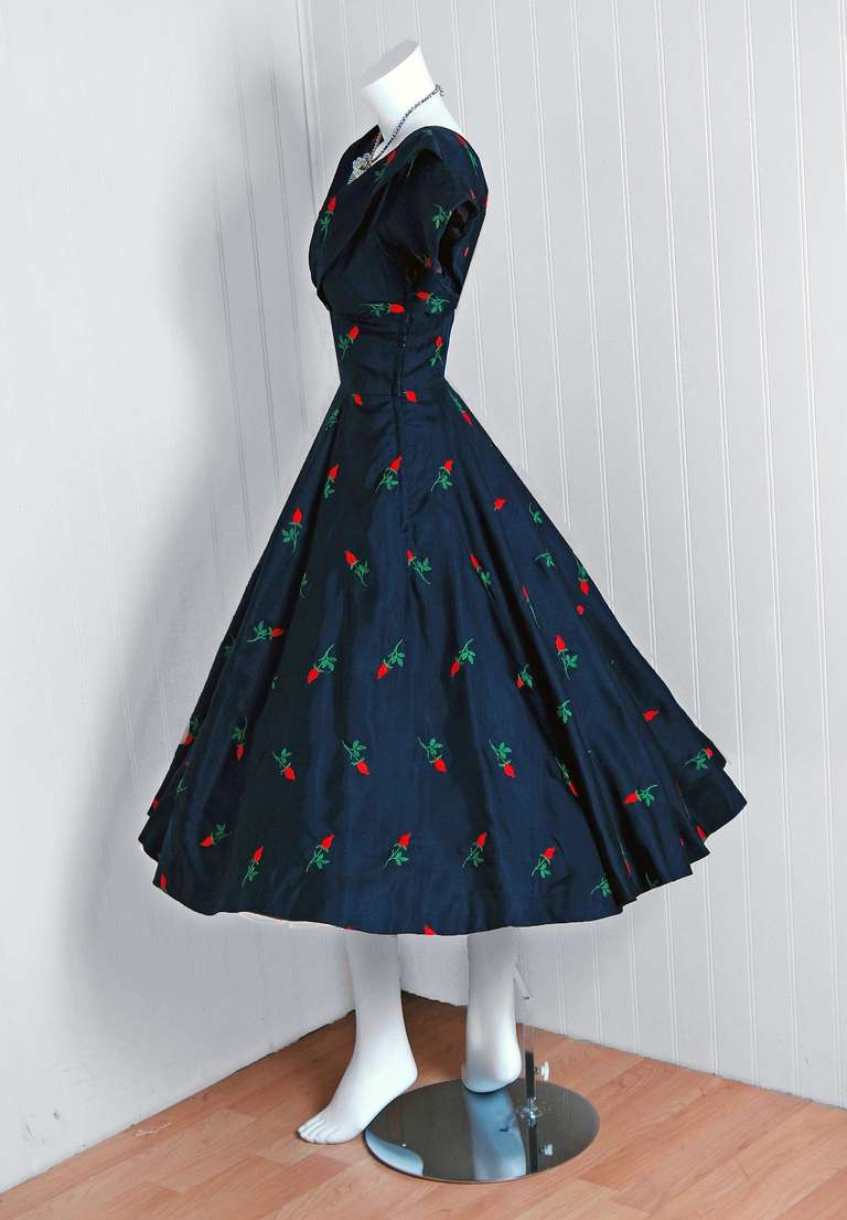 1950's Embroidered Roses Navy Silk Shelf-Bust Full Circle-Skirt Party Dress 4