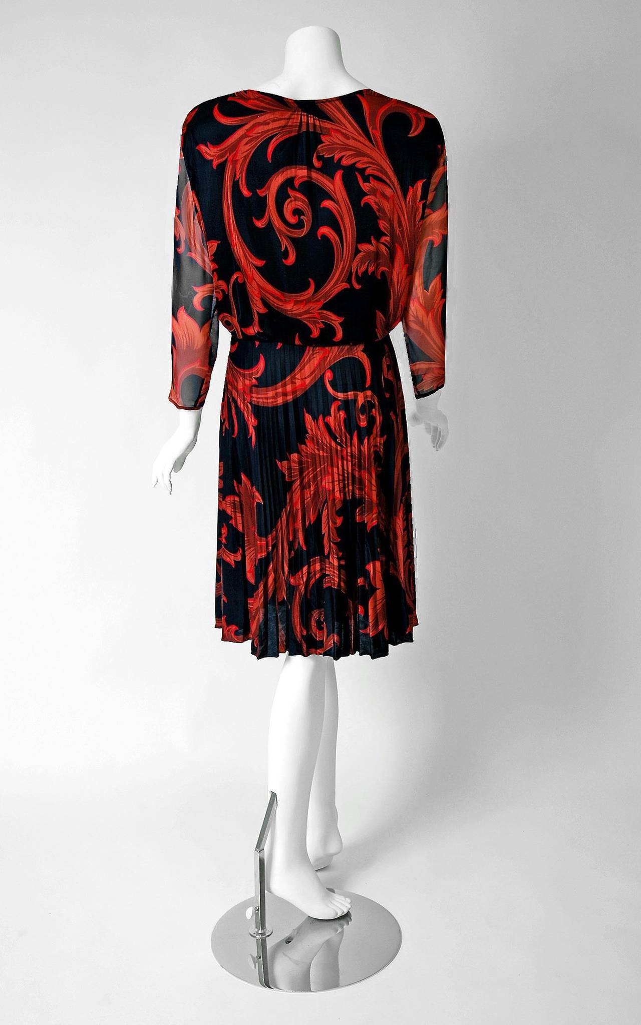 1990's Gianni Versace Couture Red Black Baroque-Print Silk Pleated Dress w/Tags For Sale 1