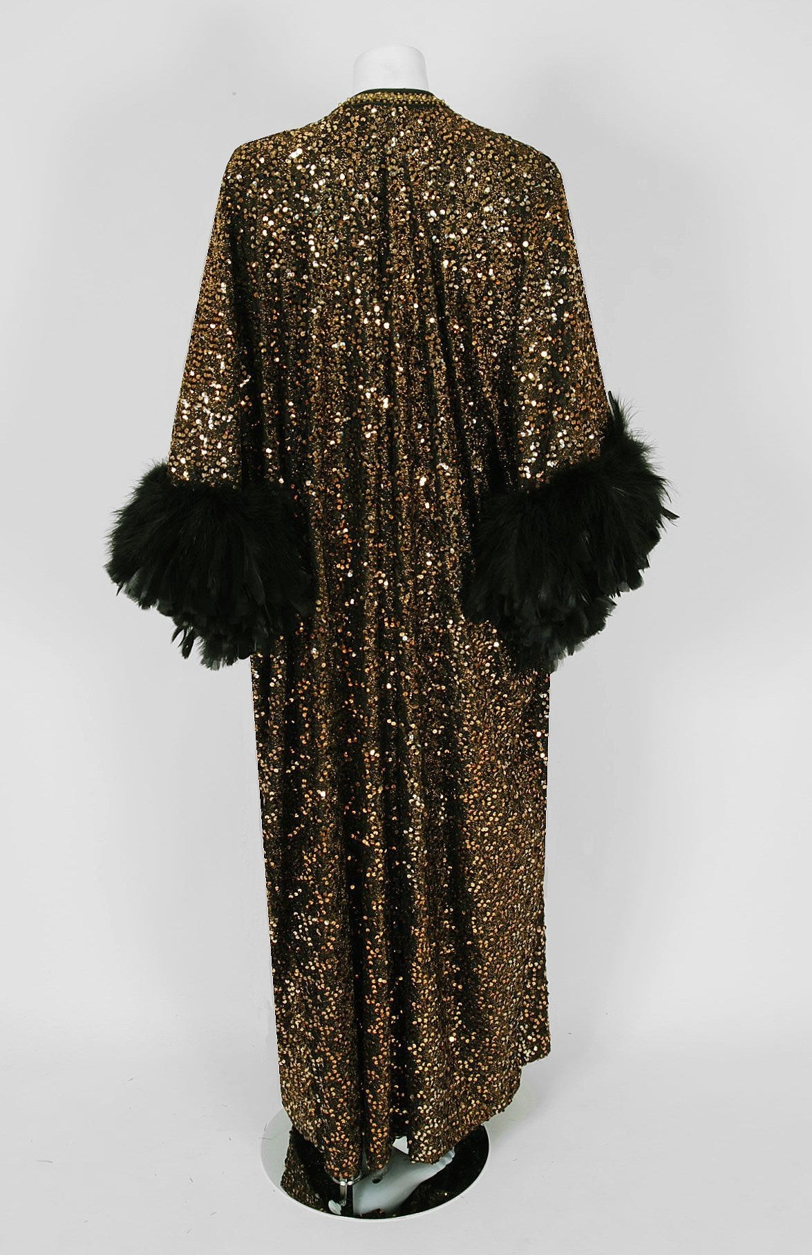 1975 Lucille Ball Celebrity Owned Gold Sequin Hourglass Gown & Feather-Cuff Coat 5
