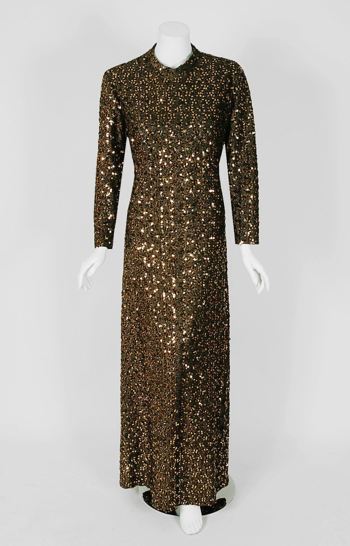 1975 Lucille Ball Celebrity Owned Gold Sequin Hourglass Gown & Feather-Cuff Coat 2