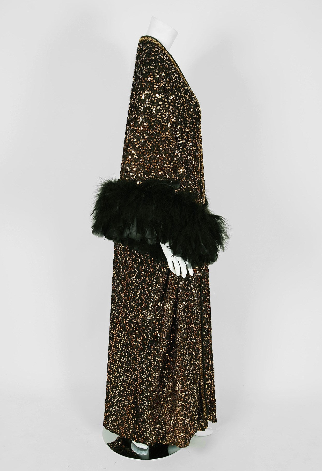 1975 Lucille Ball Celebrity Owned Gold Sequin Hourglass Gown & Feather-Cuff Coat 3