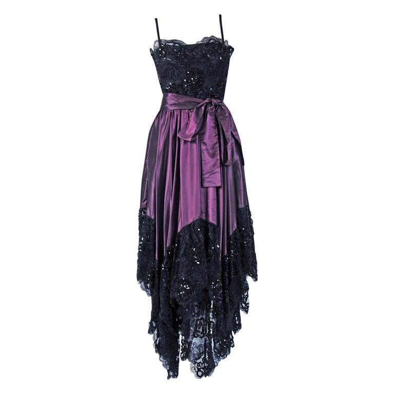 1970's Yves Saint Laurent Black Sequin-Lace & Purple Silk Asymmetric Dress
