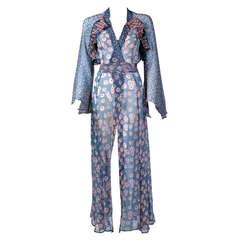 1970 Ossie Clark Documented Milky Way Celia Birtwell Print Chiffon Wrap Dress