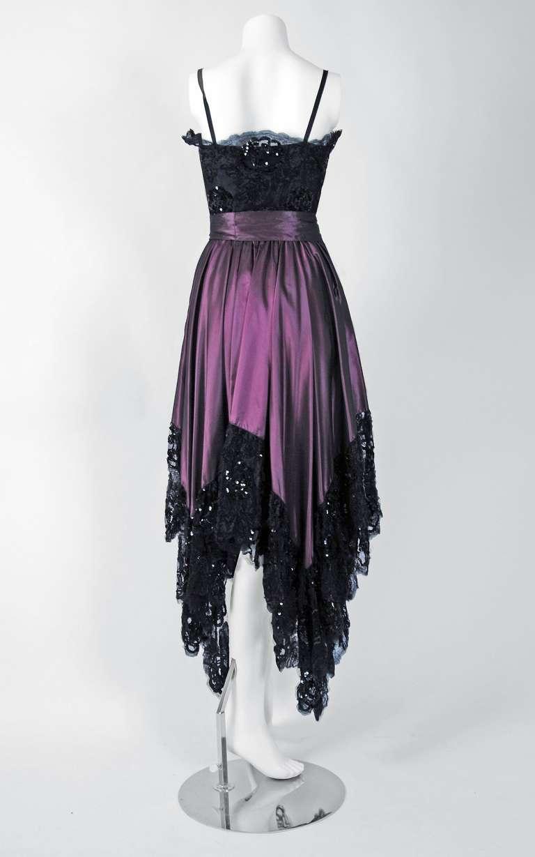 1970's Yves Saint Laurent Black Sequin-Lace & Purple Silk Asymmetric Dress 5