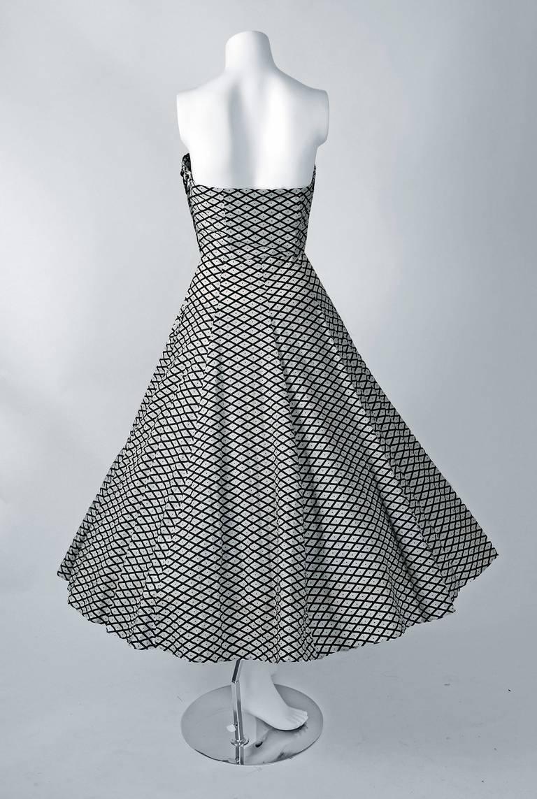 1950's Metallic Polka-Dot Black White Print Cotton Strapless Sun Dress & Shawl 5