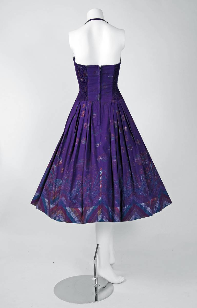 1950's Alfred Shaheen Hawaiian Purple Print Cotton Halter Circle-Skirt Dress 5