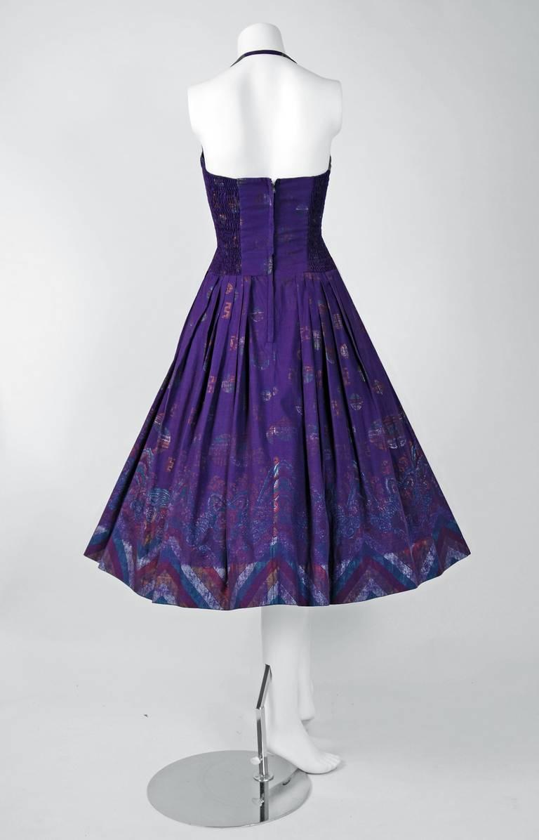 1950's Alfred Shaheen Hawaiian Purple Print Cotton Halter Circle-Skirt Dress For Sale 1