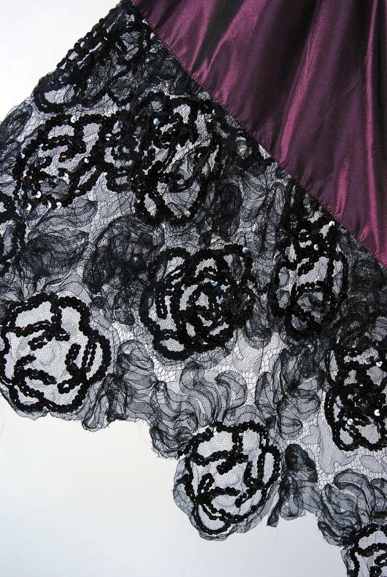 1970's Yves Saint Laurent Black Sequin-Lace & Purple Silk Asymmetric Dress 4