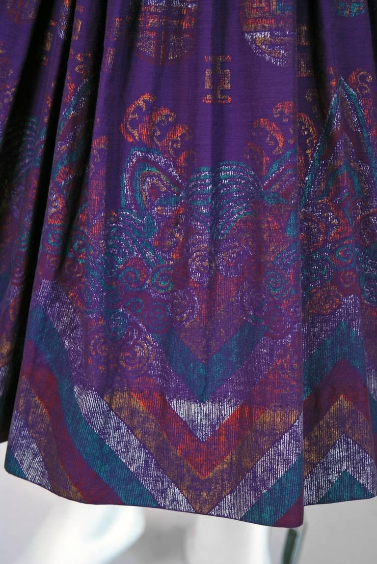 1950's Alfred Shaheen Hawaiian Purple Print Cotton Halter Circle-Skirt Dress 4