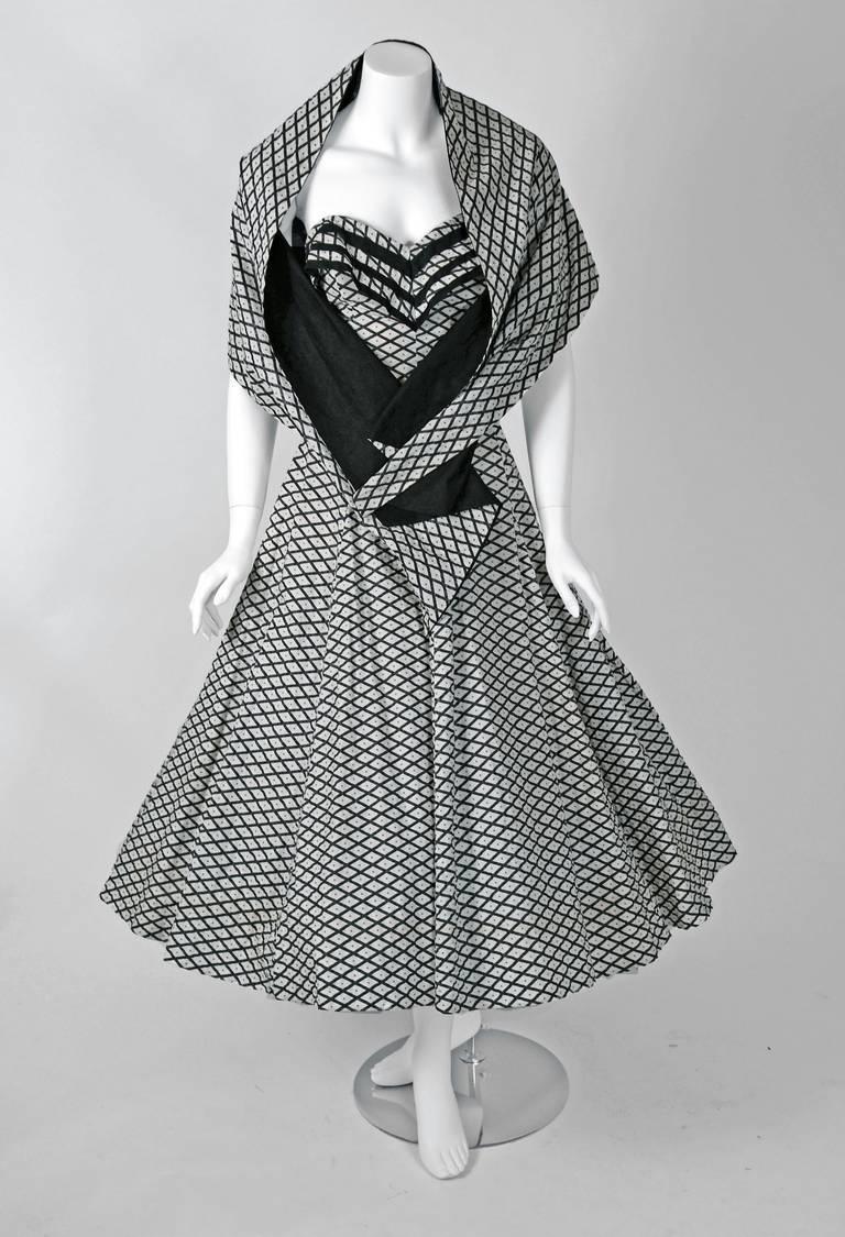 1950's Metallic Polka-Dot Black White Print Cotton Strapless Sun Dress & Shawl 2
