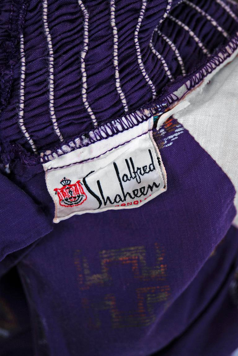 1950's Alfred Shaheen Hawaiian Purple Print Cotton Halter Circle-Skirt Dress For Sale 2