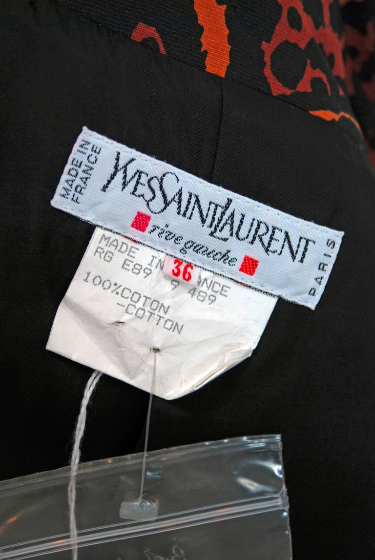 Vintage 1982 Yves Saint Laurent Leopard Print Cotton Twill Trench Jacket w/Tags For Sale 1