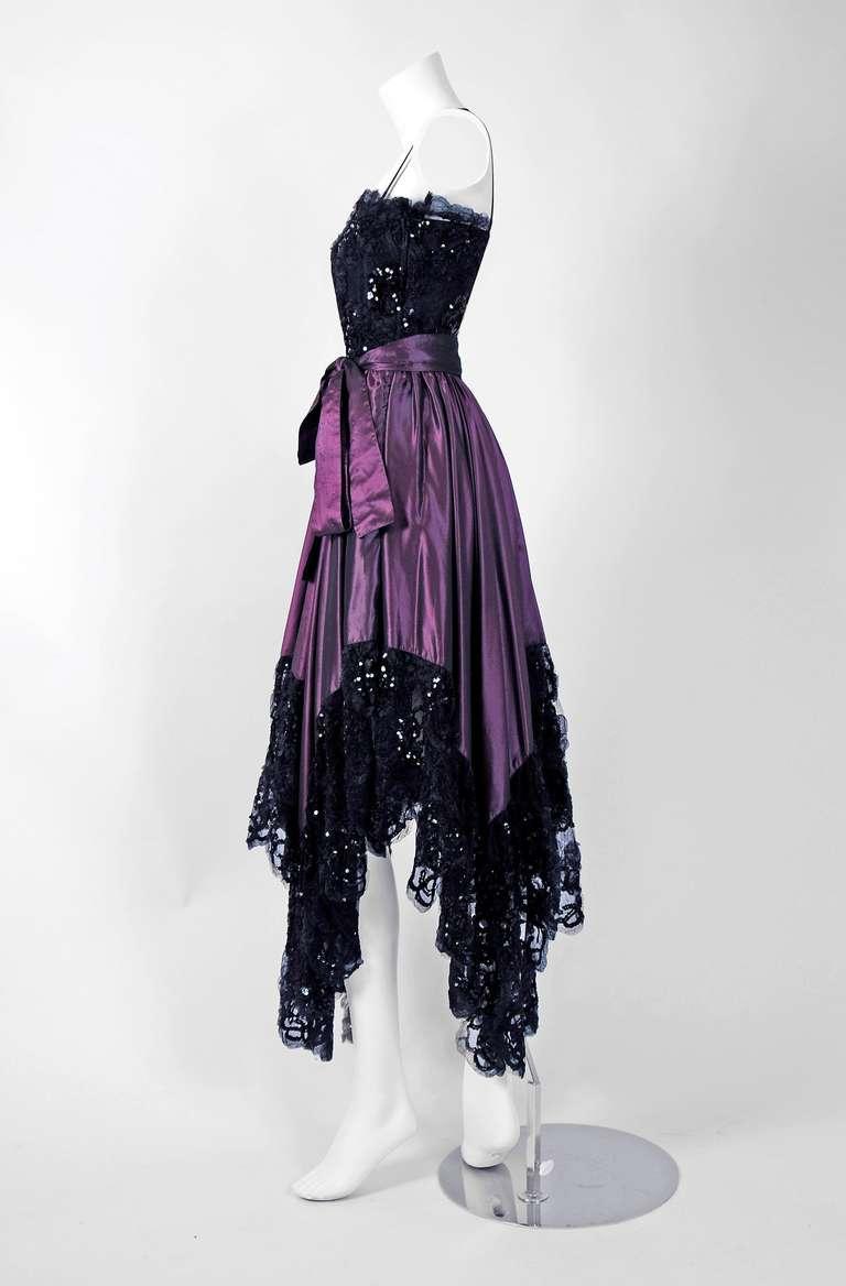 1970's Yves Saint Laurent Black Sequin-Lace & Purple Silk Asymmetric Dress 2