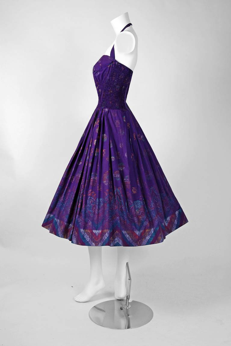 1950's Alfred Shaheen Hawaiian Purple Print Cotton Halter Circle-Skirt Dress In Excellent Condition For Sale In Beverly Hills, CA
