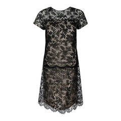 1968 Givenchy Haute-Couture Black Chantilly Lace Illusion Scalloped Mod Dress