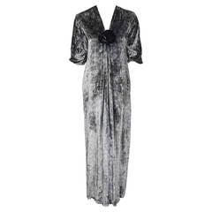 1975 Yves Saint Laurent Haute-Couture Documented Silver Silk-Velvet Caftan Gown
