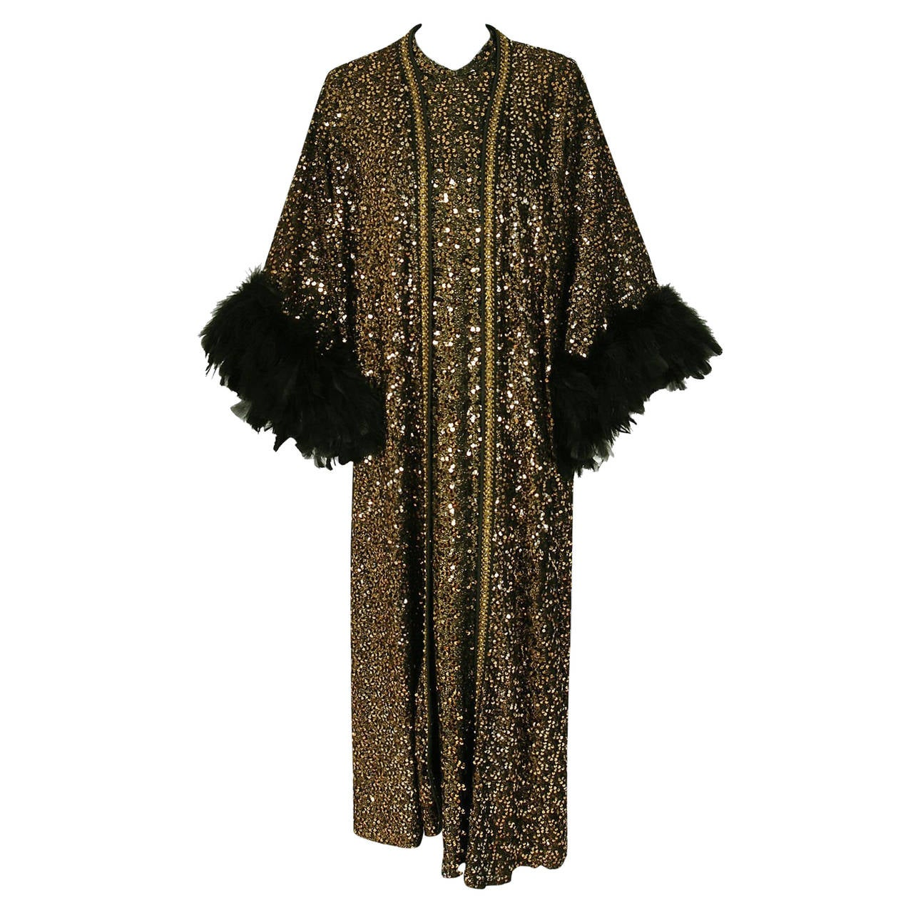 1975 Lucille Ball Celebrity Owned Gold Sequin Hourglass Gown & Feather-Cuff Coat 1