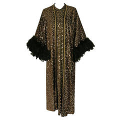 1975 Lucille Ball Celebrity Owned Gold Sequin Hourglass Gown & Feather-Cuff Coat