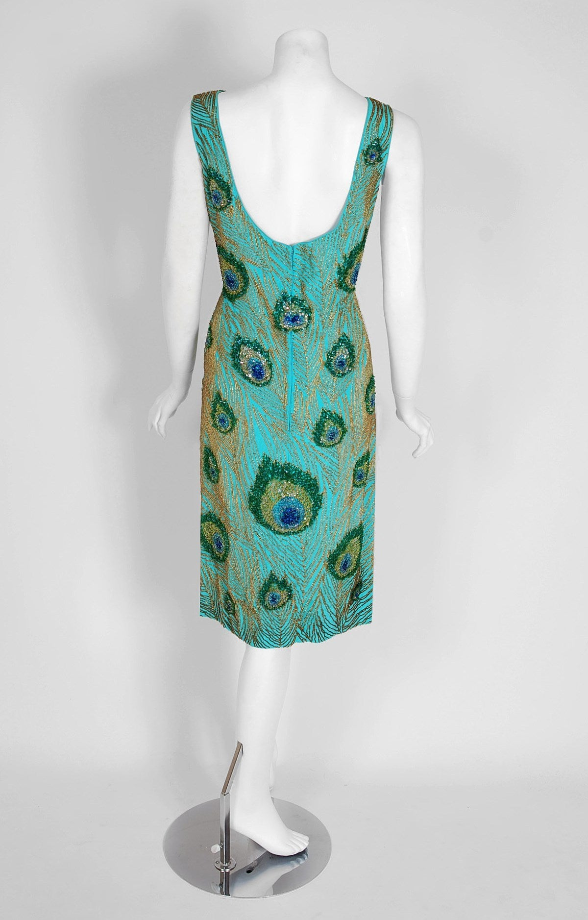 1960's Peacock Feather Novelty Beaded Sequin Silk Hourglass Cocktail Dress 4