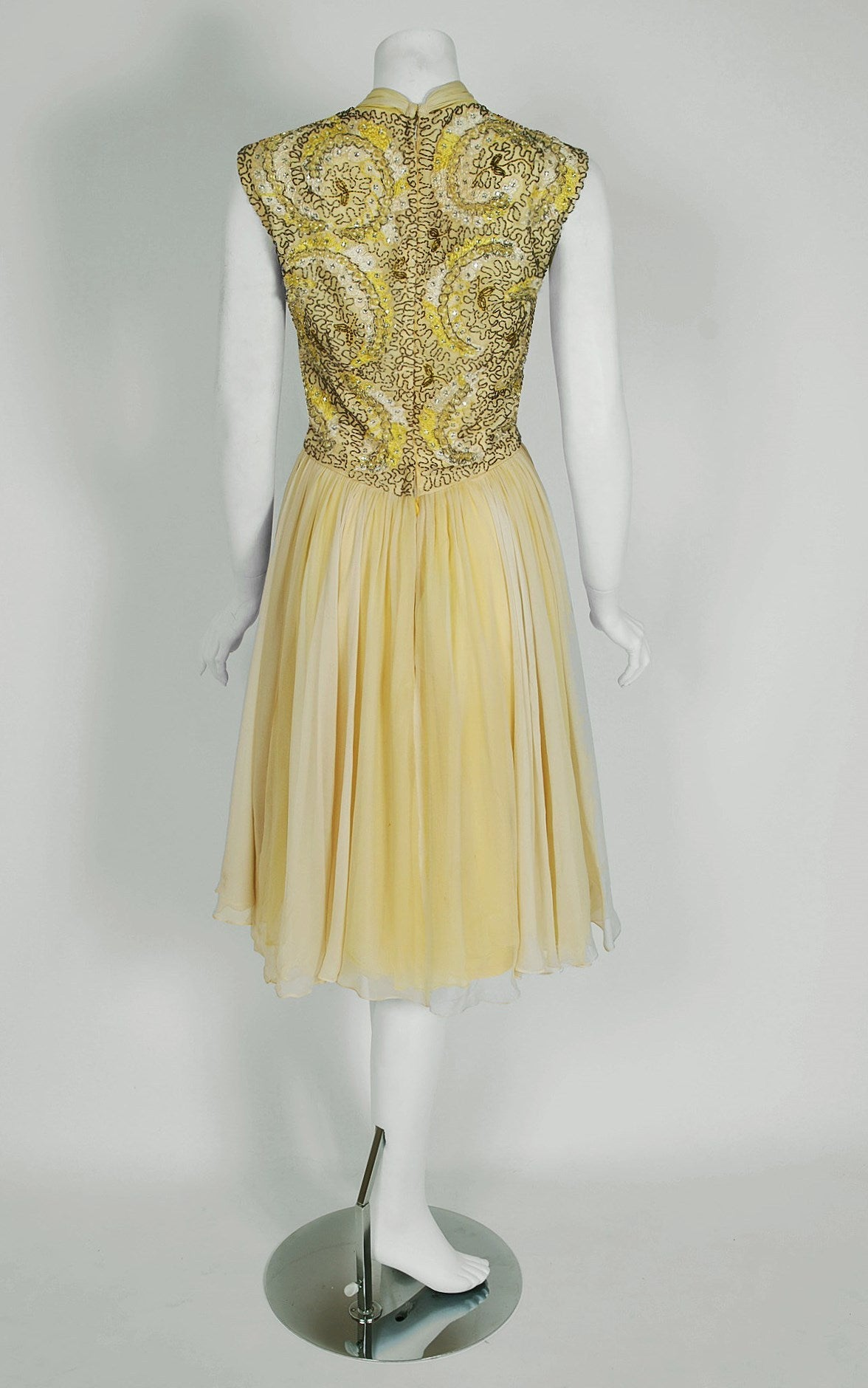 Women's 1950's Pat Sandler Pale-Yellow Beaded Embroidered Silk-Chiffon Party Dress For Sale