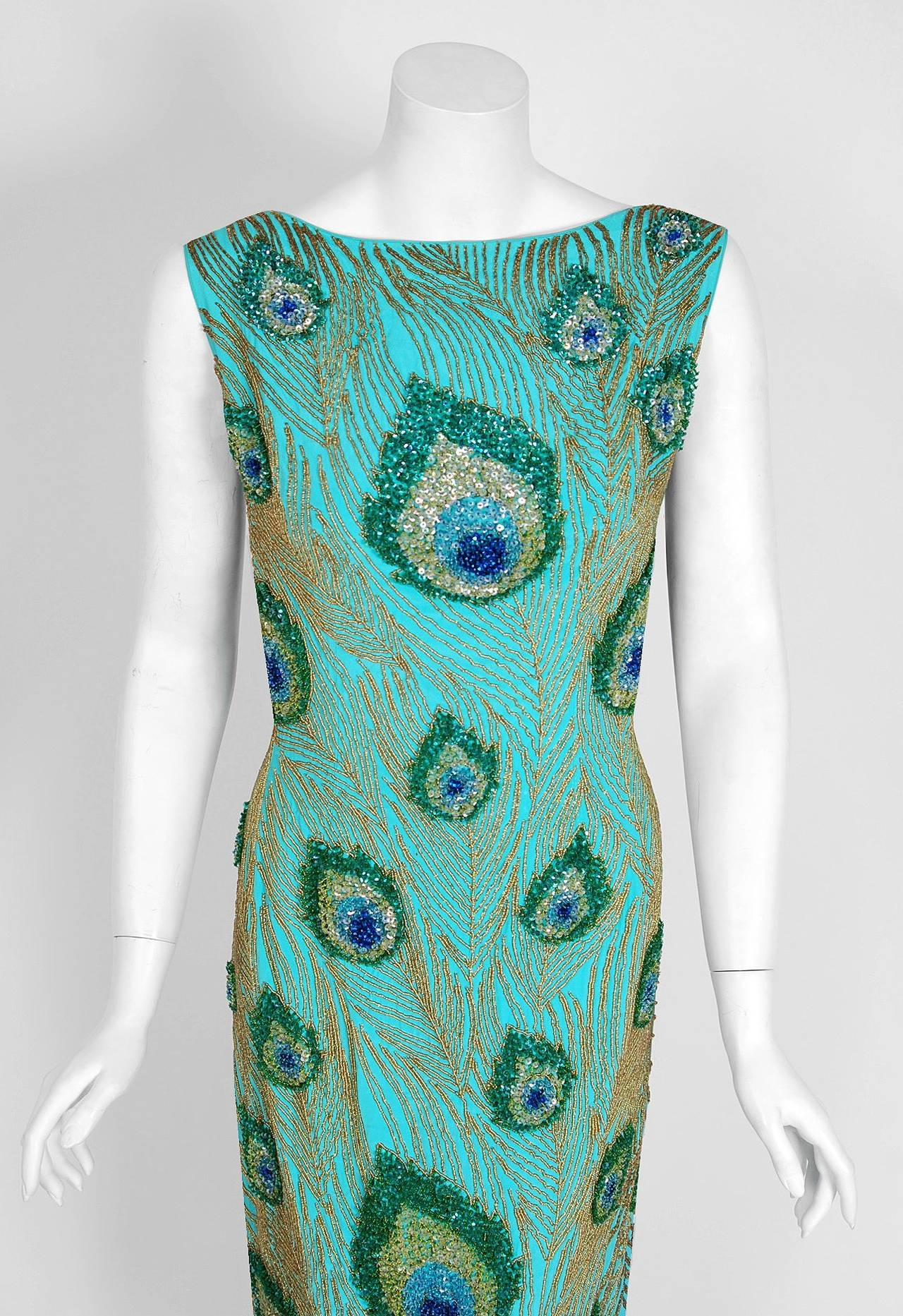 1960's Peacock Feather Novelty Beaded Sequin Silk Hourglass Cocktail Dress 2