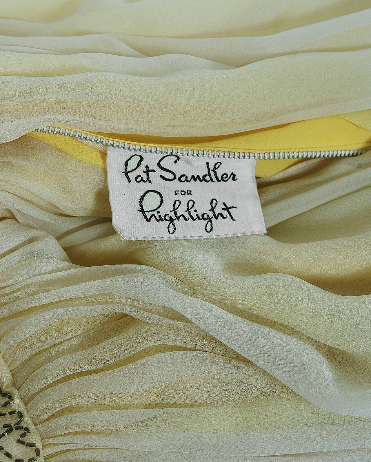 1950's Pat Sandler Pale-Yellow Beaded Embroidered Silk-Chiffon Party Dress For Sale 1