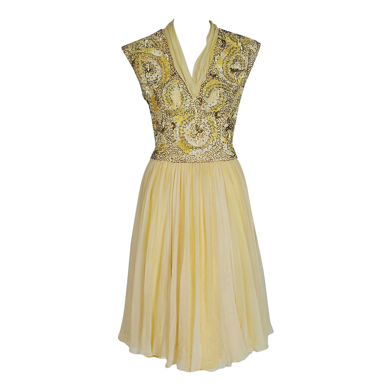 1950's Pat Sandler Pale-Yellow Beaded Embroidered Silk-Chiffon Party Dress For Sale