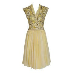 1950's Pat Sandler Pale-Yellow Beaded Embroidered Silk-Chiffon Party Dress