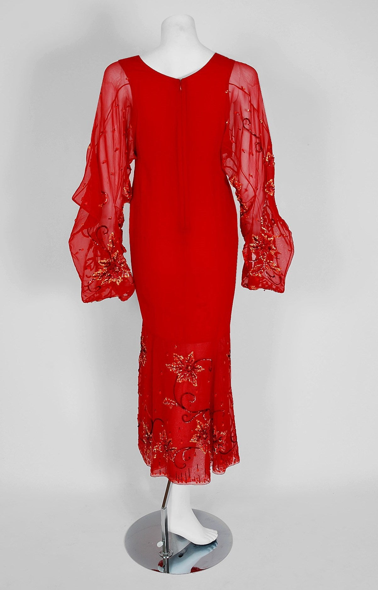 2003 Christian Dior Haute-Couture Red Beaded Chiffon Kimono-Sleeve Evening Gown 5