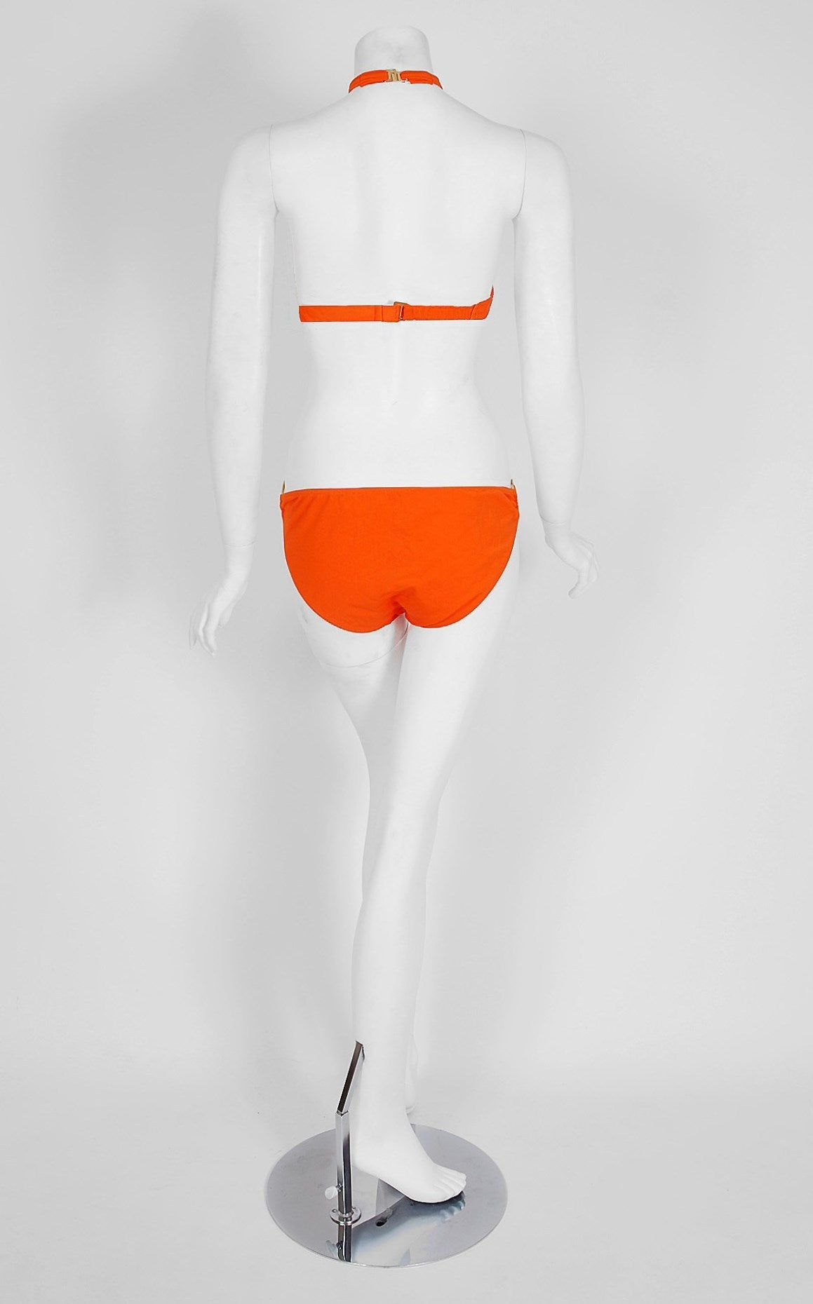 1960's French Orange Mod Space-Age Brass Rings Bikini Swimsuit w/Tags In New never worn Condition For Sale In Beverly Hills, CA