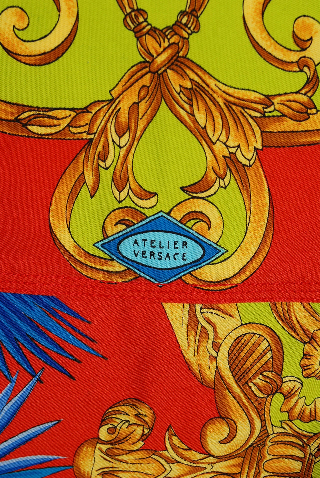 Red 1992 Gianni Versace Couture Colorful Baroque Novelty Palm-Trees Print Mini Skirt For Sale