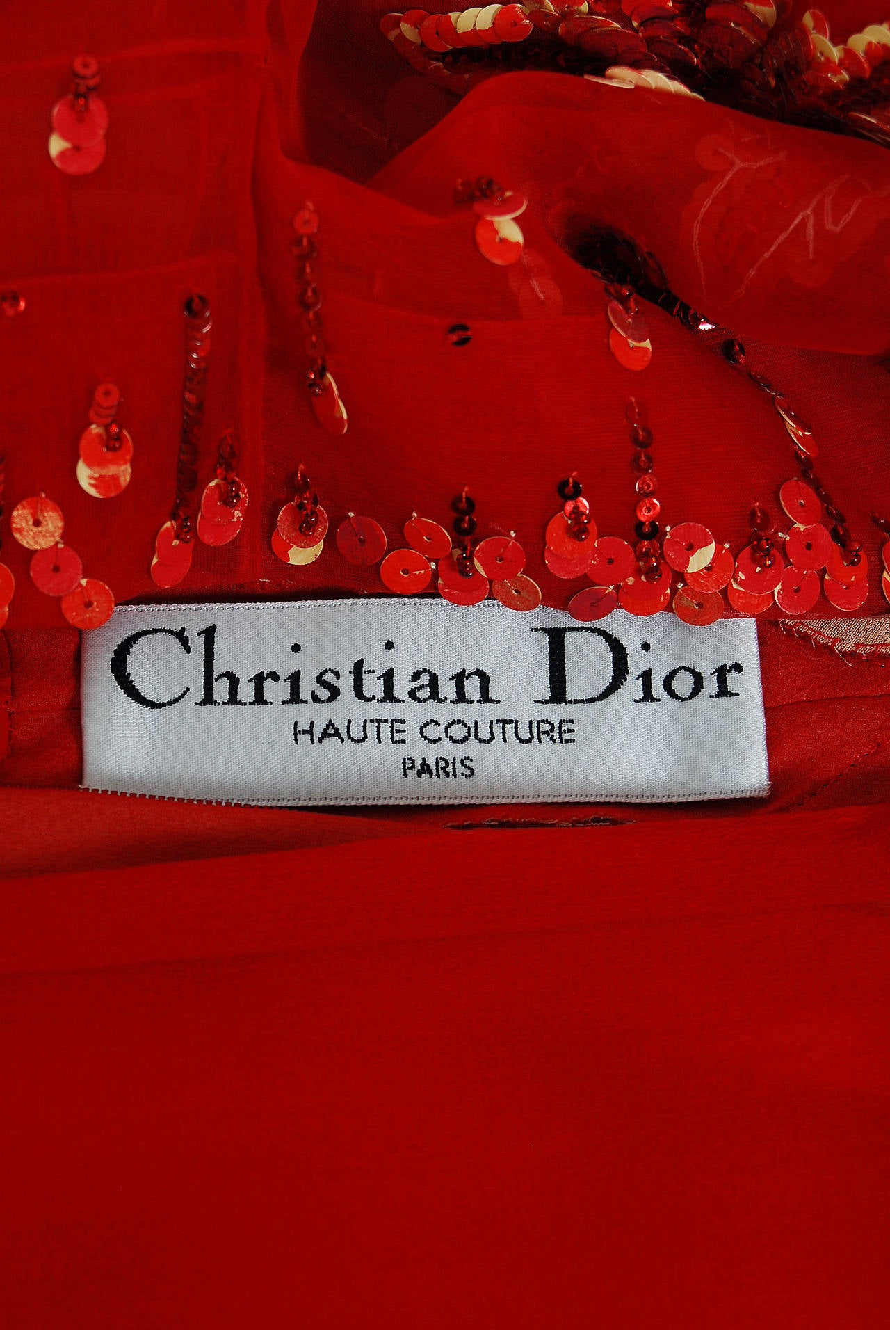 2003 Christian Dior Haute-Couture Red Beaded Chiffon Kimono-Sleeve Evening Gown 6