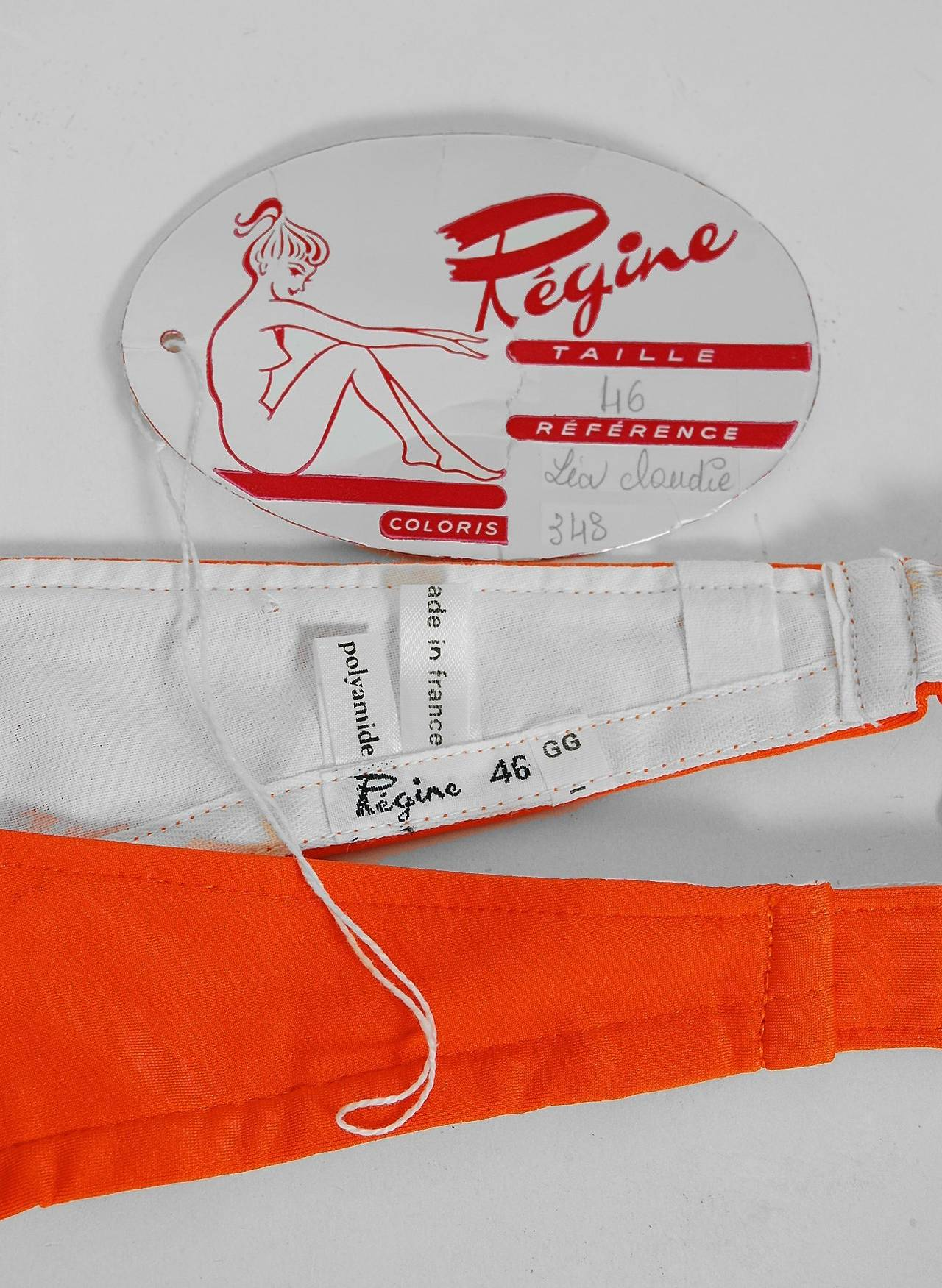 1960's French Orange Mod Space-Age Brass Rings Bikini Swimsuit w/Tags 5