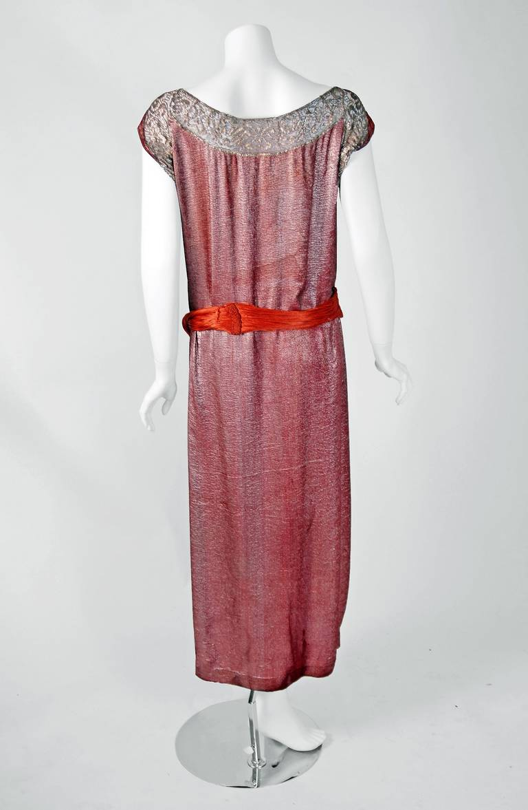 1922 house of worth haute couture pink lame and gold lace for Couture house dresses