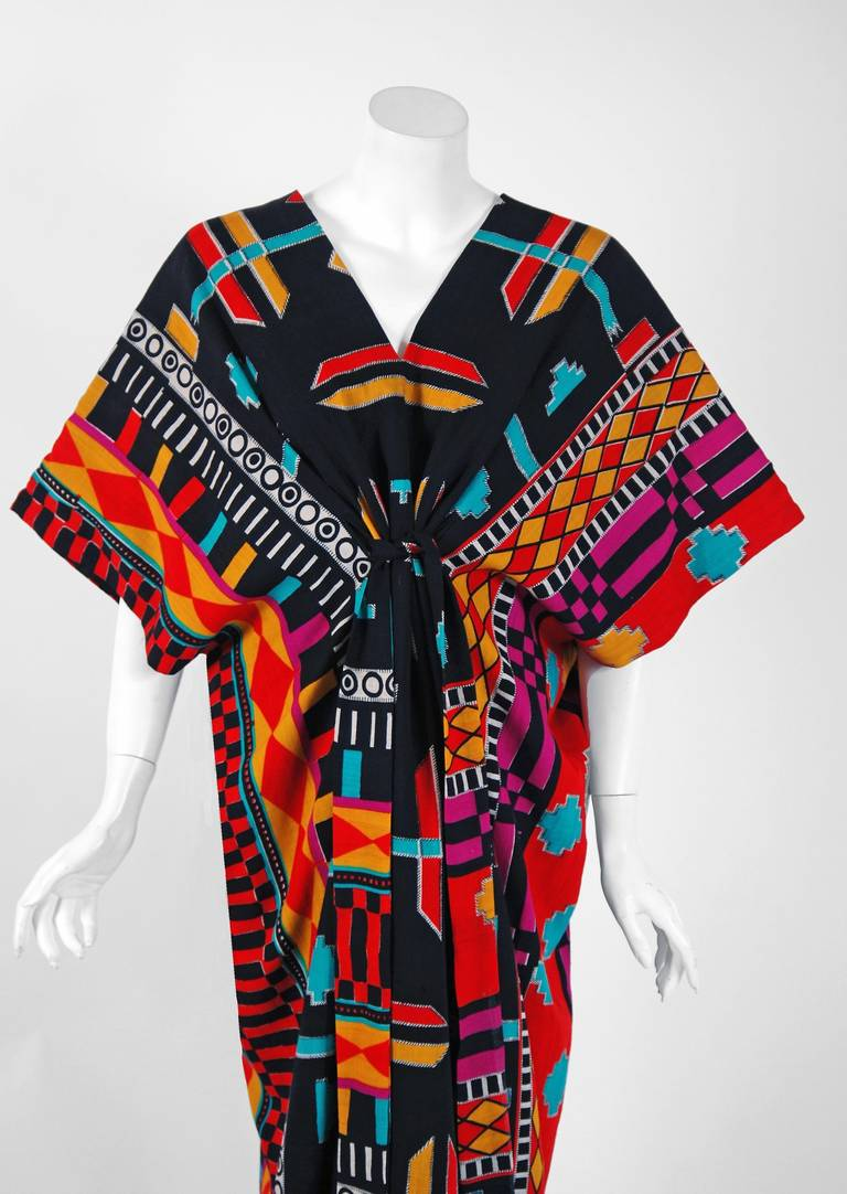 1970's Colorful Ethnic Graphic-Print Belted Cotton Bohemian Caftan Dress 2