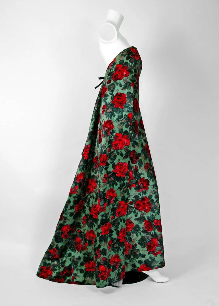 1960 jean desses haute couture strapless red roses floral for Haute couture red