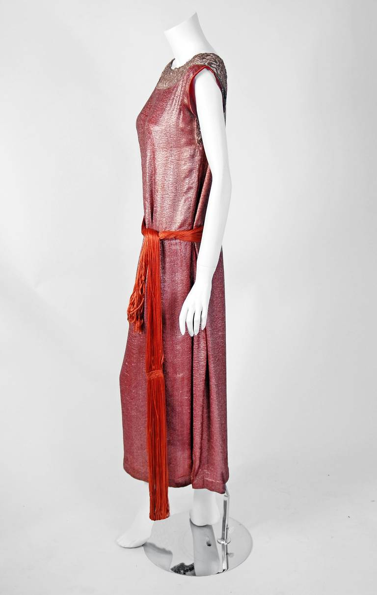 1922 House Of Worth Haute Couture Pink Lame And Gold Lace
