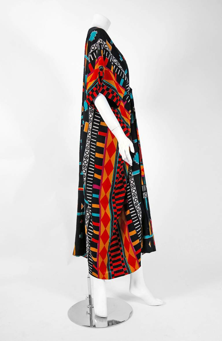 1970's Colorful Ethnic Graphic-Print Belted Cotton Bohemian Caftan Dress 5