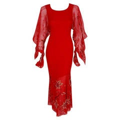 2003 Christian Dior Haute-Couture Red Beaded Chiffon Kimono-Sleeve Evening Gown