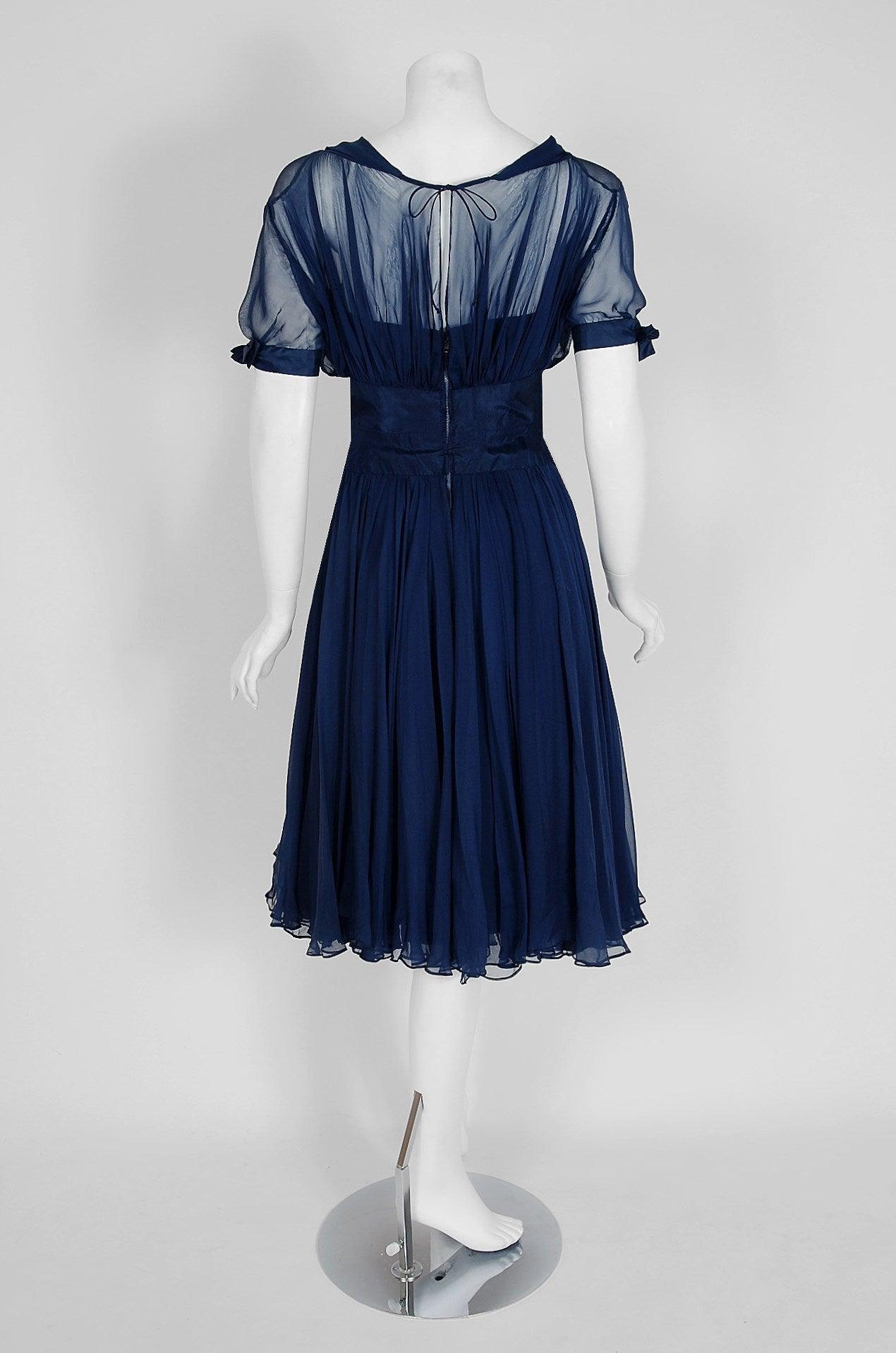 1955 Jean Desses Haute-Couture Sculpted Navy Blue Silk Shelf-Bust Party Dress 6